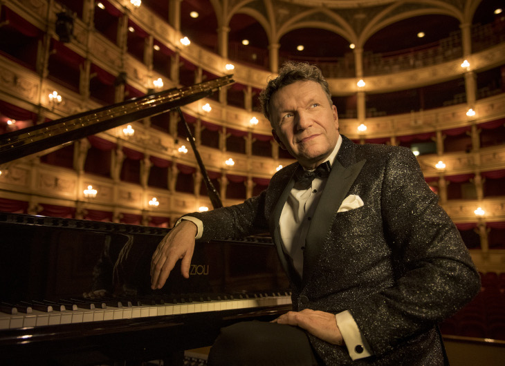 Markus Schiermer on a Fazioli Piano on stage at Teatro Verdi di Trieste